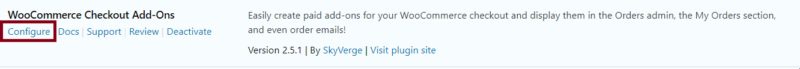 woocommerce check out addons configuration