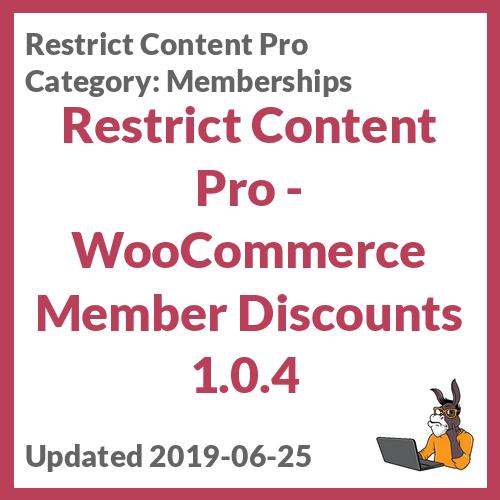 Restrict Content Pro - WooCommerce Member Discounts 1.0.4