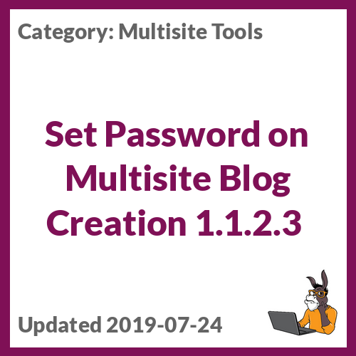 Set Password on Multisite Blog Creation 1.1.2.3
