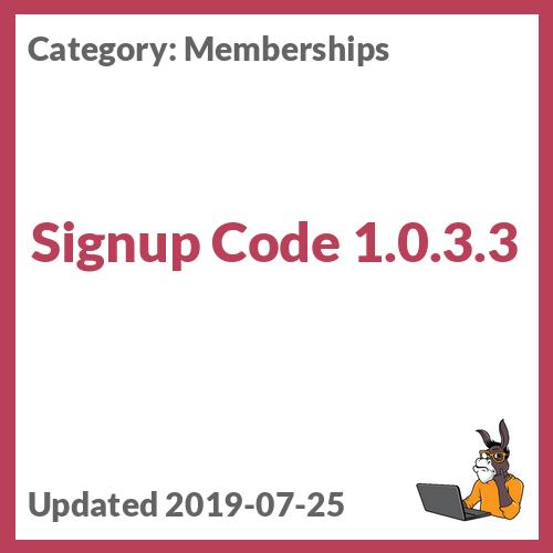Signup Code 1.0.3.3