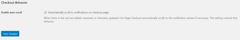 one page checkout settings