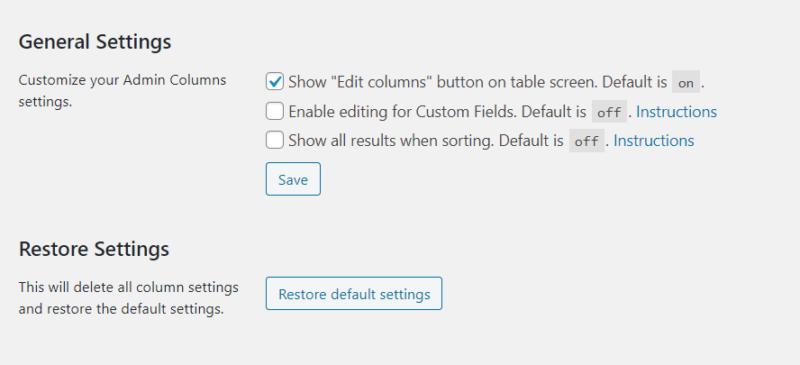 general settings date admin columns pro